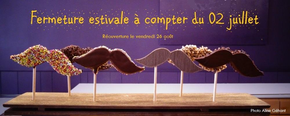 Aline Géhant Chocolatier - Fermeture estivale du 03 juillet au 25 août inclus.