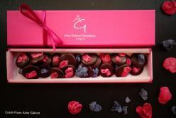 Aline Géhant Chocolatier - Réglette de palets de chocolat et de fleurs cristallisées